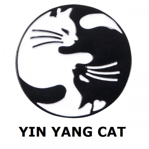 Huy hiệu Yin Yang Cat